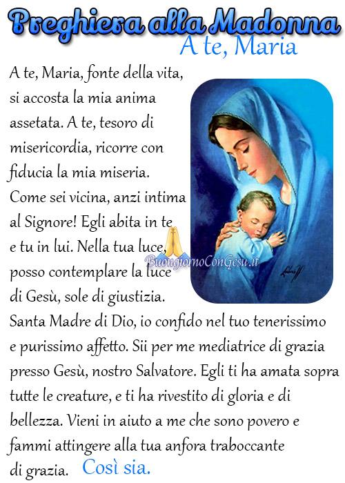 Bellissima preghiera alla Madonna