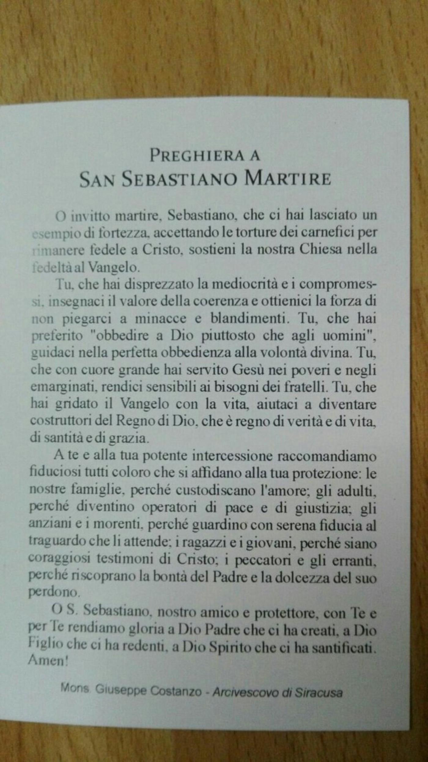 Preghiera a San Sebastiano Martire