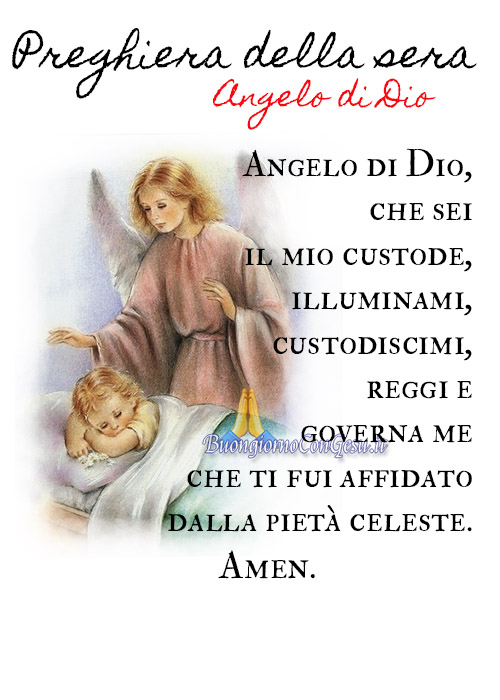 Preghiera della sera Angelo di Dio